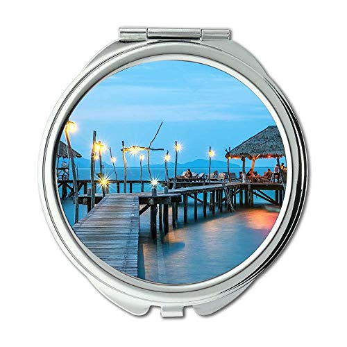 Mirror,makeup mirror,beach bungalow caribbean,pocket mirror,portable -