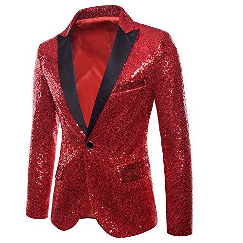 Affaires Blazer Soirée Manteau Bouton Un Fête Vertvie Costume Homme Slim Veste Fit Jacket Rouge Paillette Pour Cocktail EqOtnBOw