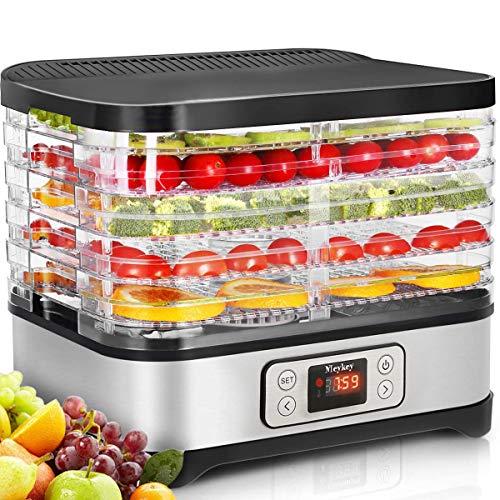 Food Dehydrator Machine Jerky with Timer, Five Tray, LCD Display Screen/BPA Free/250Watt (dehydrator with timer)