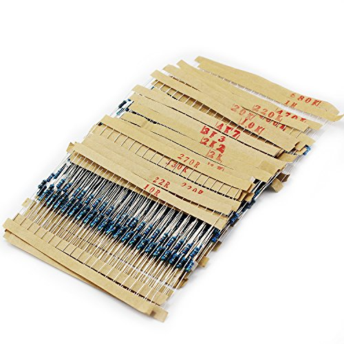 OCR 30Value 600PCS 1 Ohm-1M Ohm 1/4W Metal Film Resistor Assortment Kit(30Value -