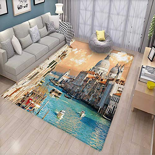 European Kids Carpet Playmat Rug Grand Canal in Venice Italy Historic European Cityscape Town Tower Boho Print Door Mats for Inside Non Slip Backing 6'x8' Multicolor - Grand Sofa Knife
