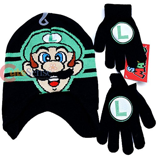 a574e1d8b4530 Nintendo Super Mario Brothers Boys Winter Beanie Hat and Gloves Set (Luigi  Green) - Buy Online in UAE.