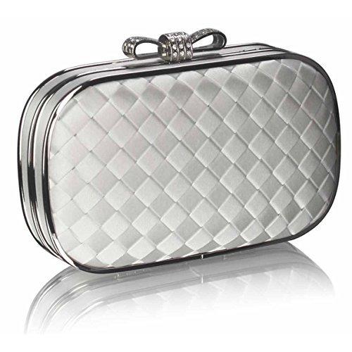 TrendStar - Cartera de mano mujer Ivory Crystal Clutch Handbag