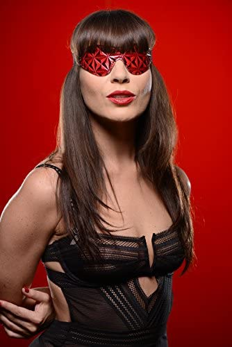 Crimson Molded and Tooled Leather and Lace Blindfold