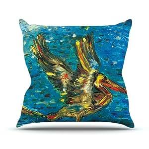 """Kess internos de Josh Serafin """"aves marinas azul amarillo al aire libre manta almohada, 26by 26"""