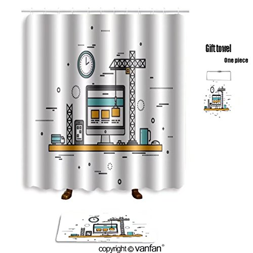 vanfan bath sets with Polyester rugs and shower curtain thin line flat design of website under constr shower curtains sets bathroom 40 x 72 inches&23.6 x 15.7 inches(Free 1 towel and 12 (Pin Up Girl Website)
