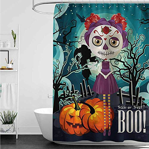 Skull Halloween Makeup Tumblr (SKDSArts Shower Curtains White with Silver Halloween,Girl Sugar Skull Makeup,W48 x L72 Christmas Scene Shower)