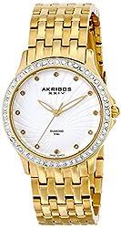 Akribos XXIV Women's AK620YG Lady Diamond Gold-Tone Stainless Steel Bracelet Watch