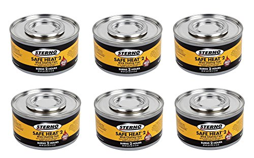 - Sterno 2 Hour Safe Heat Chafing Dish Fuel With PowerPad Feature, 6 Cans,3.80 fl OZ.