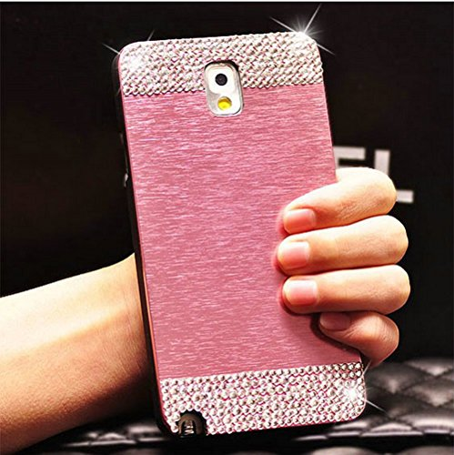 Galaxy Note 3 Case, Beauty Luxury Diamond Hybrid Glitter Bling Hard Shiny Sparkling with Crystal Rhinestone Metal Aluminum Back Cover Case for Samsung Galaxy Note 3 N9000 (Pink, Galaxy Note 3)