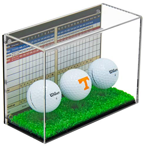 - Deluxe Clear Acrylic Triple Golf Ball Display Case with Black Back and Turf Floor (A045B-TB)