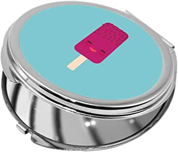 مرآة جيب، بتصميم رسوم كرتونية - ايس كريم ، شكل دائري