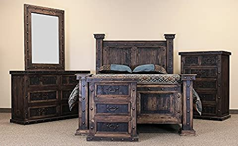King Old West Dark Walnut Rustic Bedroom Set Western Cabin Lodge Reclaimed Wood - Lodge Bedroom Furniture