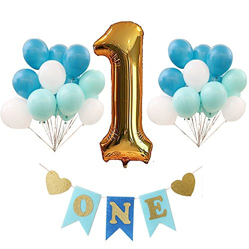 First Happy Birthday Decorations Kit Party Supplies ONE Letter Chair Decoration BannerGolden Number 1 Balloons3 Color Balloons For Baby Shower