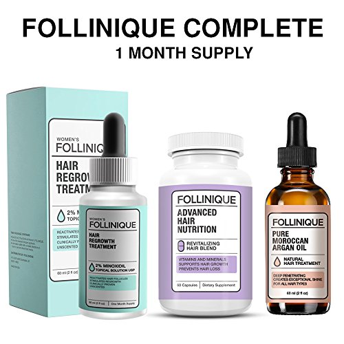 FOLLINIQUE Complete 1 Month Supply -Get ALL 3, Hair ReGROWTH Treatment, 100% Pure Argan Oil & Advanced Hair Nutrition Vitamins and Minerals to stimulate Max growth -Fully FDA Approved 2% Minoxidil