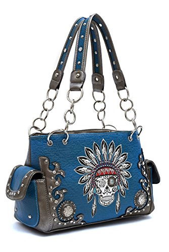 Lcolette Western Cowgirl Indian Embroidery Deco Two Side Pocket Satchel Bag Kel8469 (turquoise)