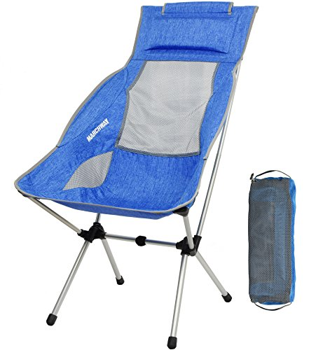 MARCHWAY Lightweight Folding High Back Camping Chair with Headrest, Portable Compact for Outdoor Camp, Travel, Picnic, Festival, Hiking, Backpacking (Light Blue)