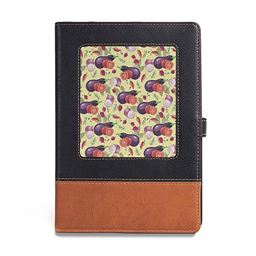 "Durable Journal Writing Notebook,Eggplant,A5(6.1"" x 8.6""),Applicable to offices and schools,Eggplant Tomato Relish Onion Going Green Eating Organic"