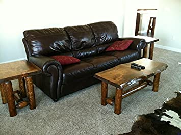 Amazoncom Rustic Log Coffee and End Table Set Pine and Cedar