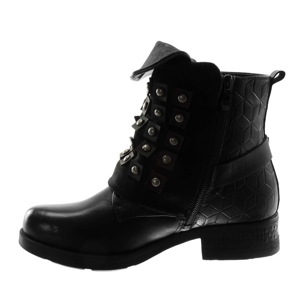 Angkorly - Damen Schuhe Stiefeletten - Biker - bi-Material - - Classic - Nieten - Besetzt - Schleife - bi-Material String Tanga Blockabsatz 3.5 cm Schwarz 65e35d