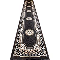 Traditional Area Rug Long Runner Design Kingdom D 123 Black Brown Beige Ivory (32 Inch X 15 Feet 6 Inch)