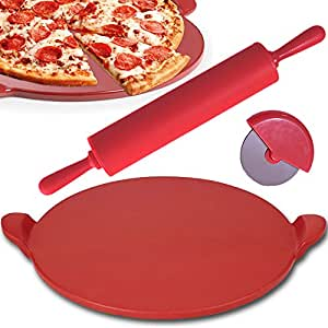 Amazon Com Pizza Stone Plus Cutter And Rolling Pin By