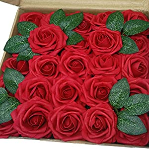 J-Rijzen Jing-Rise Dark Red Real Looking 50pcs Artificial Flowers Fake Roses Ror Wedding Flowers Centerpieces Bridal Bouquet Photo Frame Green Garland Wedding Cake Decoration(Dark Red) 54
