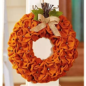 The Lakeside Collection Harvest Gatherings Burlap Pumpkin Wreath 84