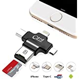 USB Card Reader, Hizek 4 in 1 Memory Card Reader USB 2.0 Multi Function supportare schede di TF di connettore USB per iPhone / Samsung / Huawei / HTC / Nexus / LG / Sony / Windows (nero)