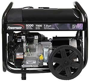 powermate pm0126000 portable generator with manual start 6000 watt black garden. Black Bedroom Furniture Sets. Home Design Ideas