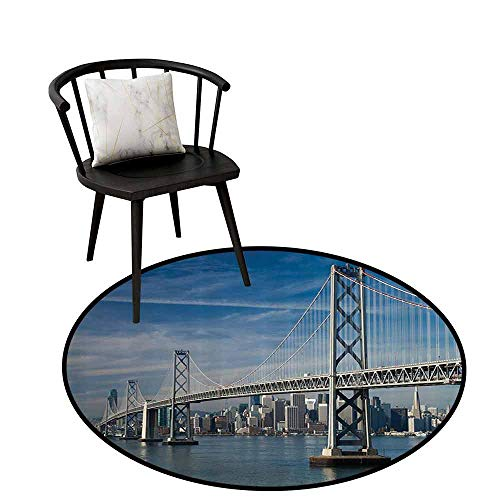 Flexible Round Rug Apartment Decor Collection for Bathroom San Francisco Bay Bridge in The Morning Historic City Structure Panoramic Picture Print Blue Gray D31(80cm)
