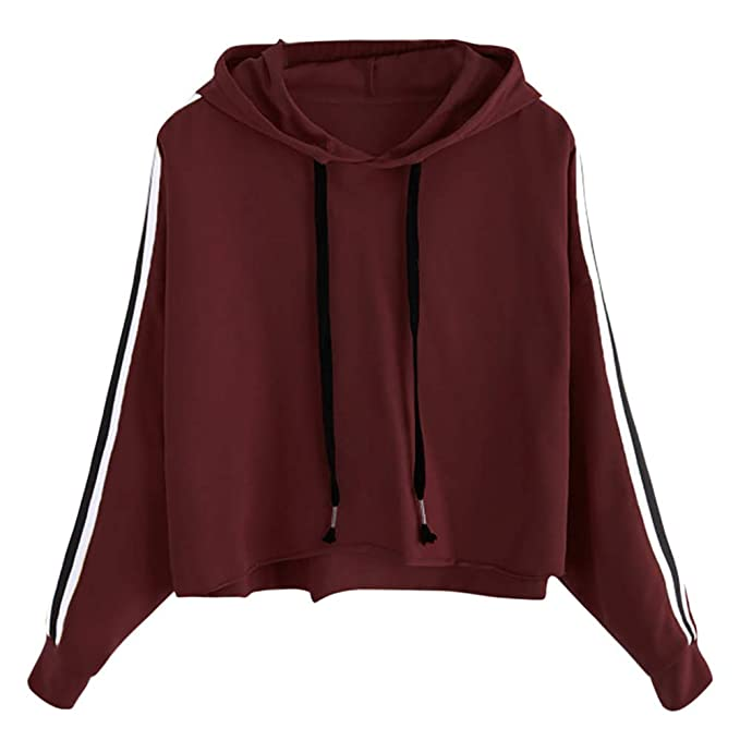 POTO Sweatshirts, Women Striped Hoodie Sweatshirt Long Sleeve Jumper Hooded Pullover Tops Blouse at Amazon Womens Clothing store: