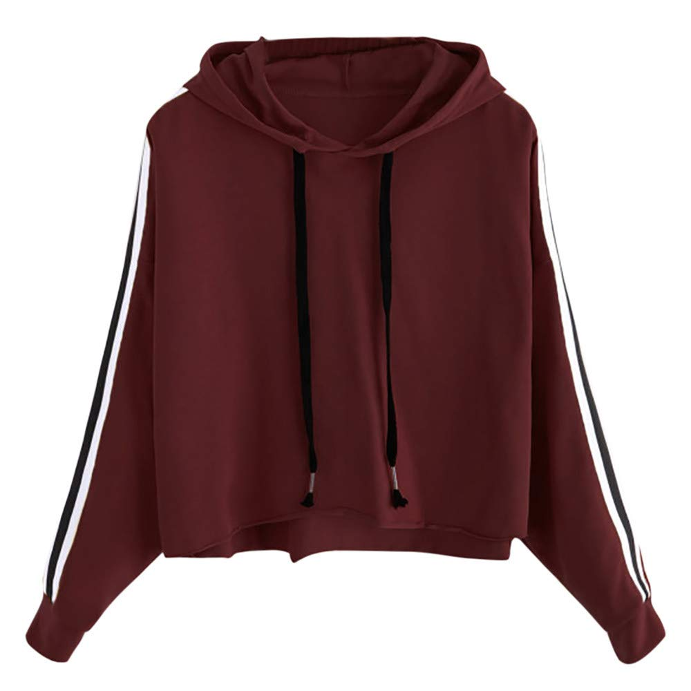 Mlide Drawstring Hooded Striped Sweatshirt, Womens Solid Long Sleeve Jumper Short Pullover Tops Blouse at Amazon Womens Clothing store: