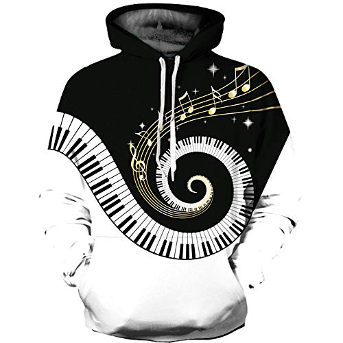 Ywfzzxs Unisex 3D Hoodies Dream Piano Hd 3D Printed Sweatshirts Long Sleeve Big Pockets Fleece Pullover XXL