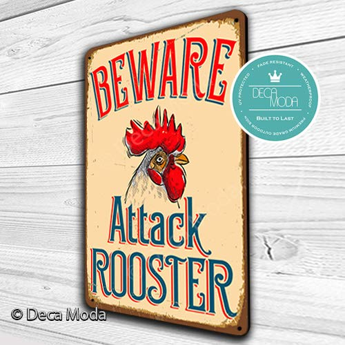 Deca Moda Beware Attack Rooster Sign Vintage Style Rooster Sign Durable Aluminum Composite Rust Free 14 x 10 ()