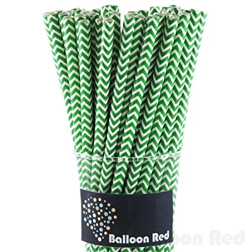 Jade Green Led (Biodegradable Paper Drinking Straws (Premium Quality), Pack of 50, Chervon - Green)