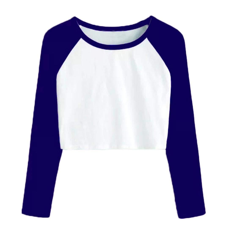 60d9b353c9678d NEEKY Damen Casual Langarm Kurze Tops Frauen Mode O-Neck Sweatshirt Täglich T  Shirt Bluse: Amazon.de: Bekleidung