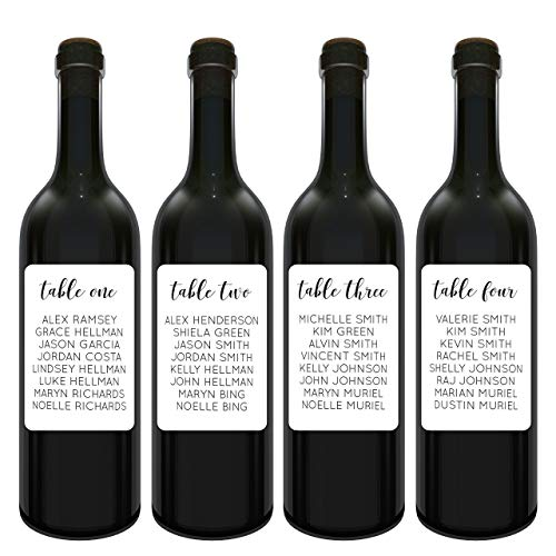 Simple Wedding Wine Table Number Label Stickers