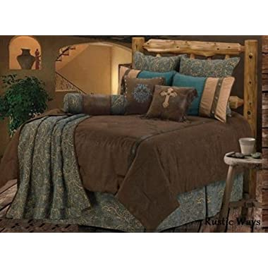 Western Bedding Tooled Turquoise Monterrey 5 Piece King