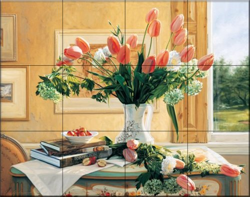 Ceramic Tile Mural - French Tulips and Crabapples - by Robin Anderson - Kitchen backsplash/Bathroom Shower ()