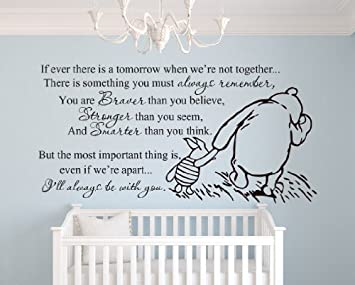 Delightful Winnie The Pooh Braver, Stronger Smarter Quote (Large) Wall Decal Sticker  Art Decor Part 24