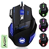 [New Version] AFUNTA Super Big 5500 DPI Gaming Athletics Wired USB Game Mouse 7 Button With Colorful Breathing Lights Support Windows IOS Mac System