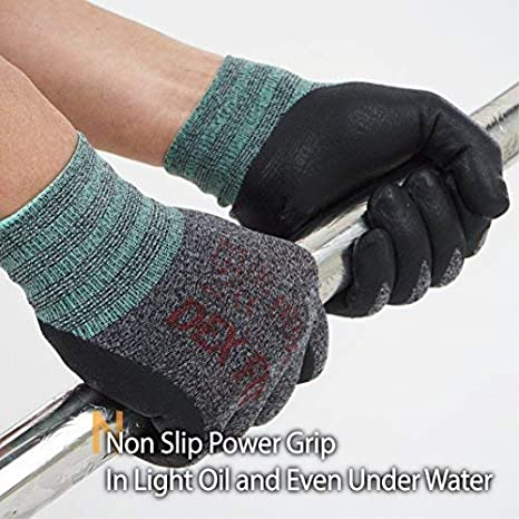 Comfort 3D Stretchy Fit Rev/êtement en mousse durable Smart Touch Lavable /à la machine Power Grip Gris Noir XX-Grand 3 Paires DEX FIT Gants de travail nitrile l/égers FN330