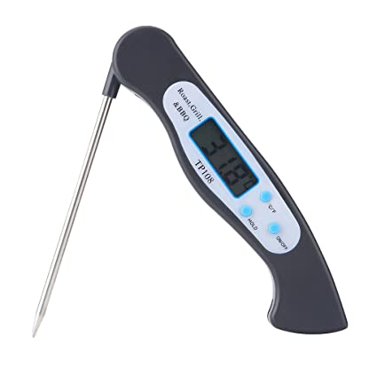 Digital Meat Thermometers Instant Read Kitchen Cooking Food Thermometer Electronic Handy Tools with LCD Display and Long Probe for Kitchen BBQ Grill - black, Foldable Thermometer
