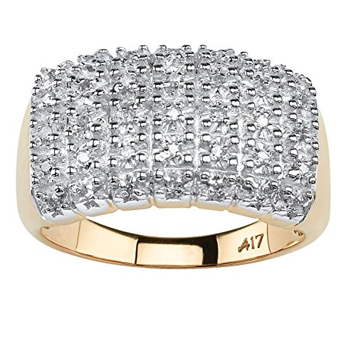 Pave White Diamond 10k Yellow Gold Cluster Ring (.17 cttw, HI Color, I3 Clarity) Size (Diamond Cluster)