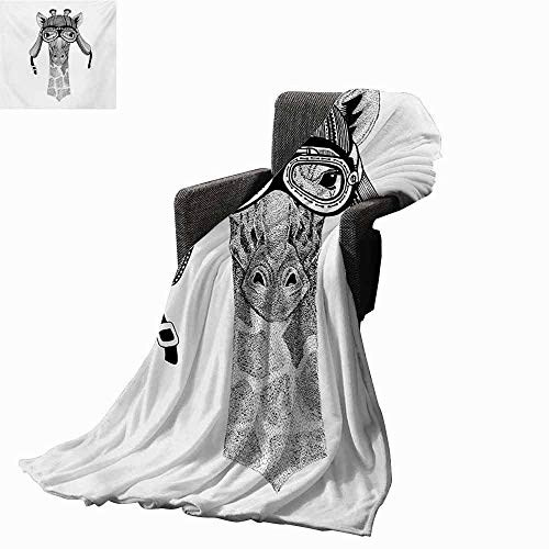 vanfan-home Giraffe Printing Throw Blanket,Vintage Motorcycle Helmet Wearing Animal Monochrome Retro Influenced Character Super Soft Luxurious Blanket for Bed Couch(70