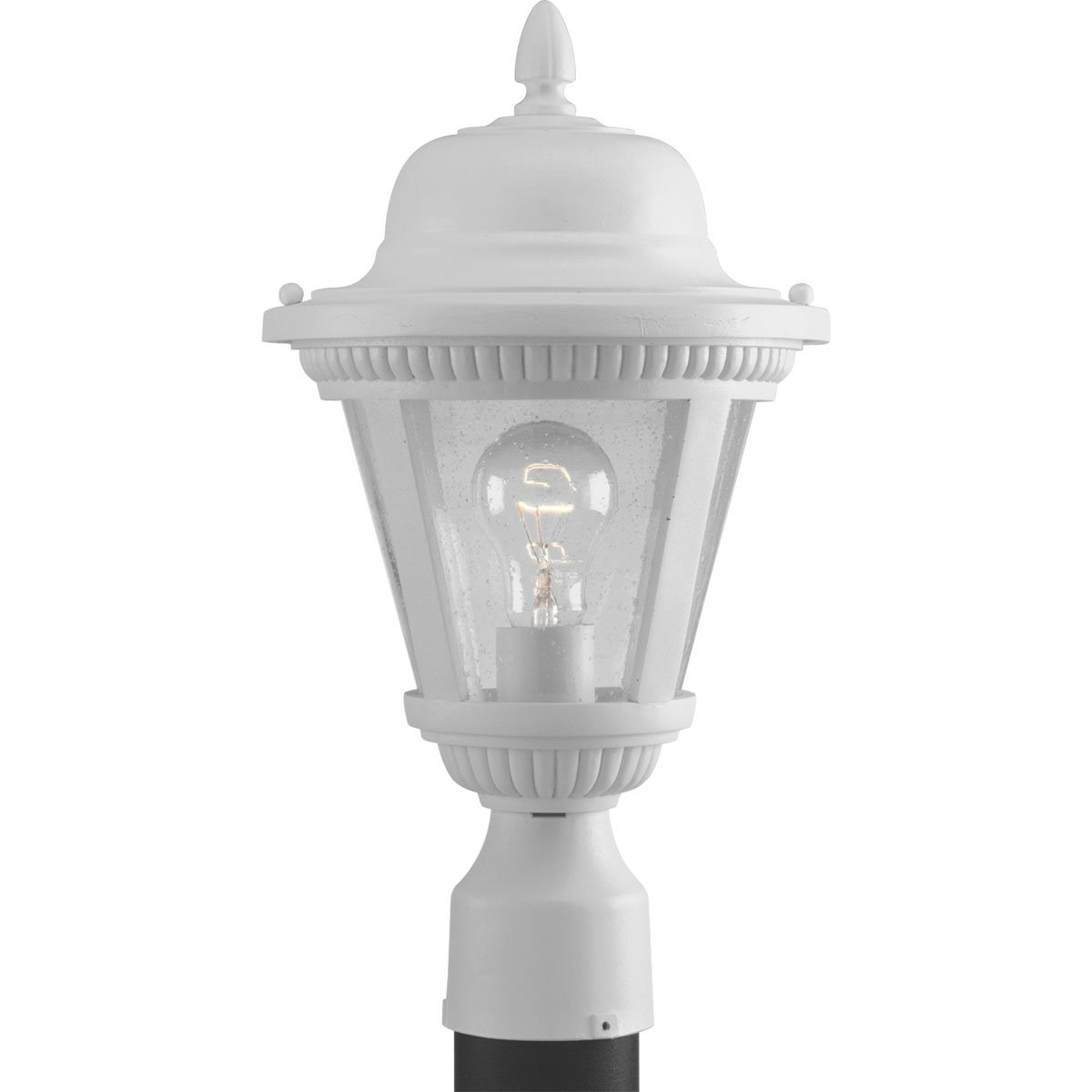 Progress Lighting P5445-30 1-Light Cast Post Lantern with Clear Seeded Glass, White