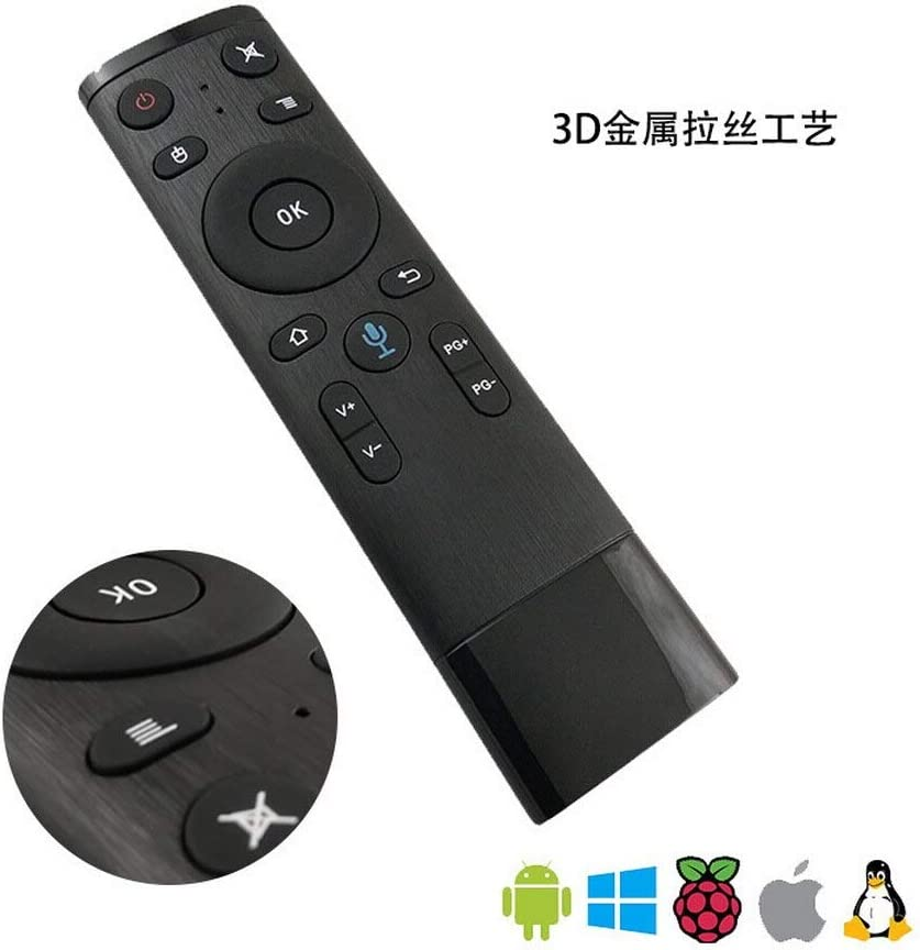 Color: bluetooth mic 2.4GHz Wireless Microphone Remote Control For Smart TV,Android Box PC Calvas 20pcs Voice Control Fly Air Mouse For Gyro Sensing Game