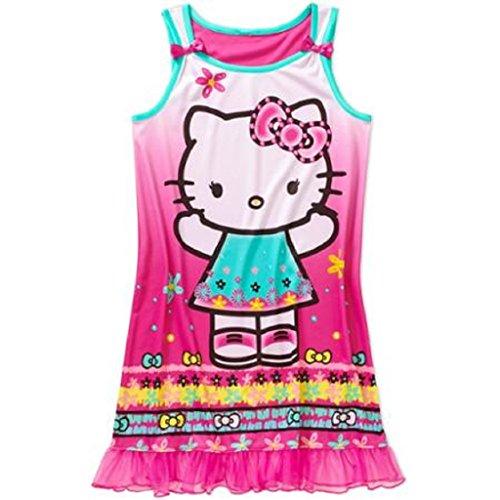 - Hello Kitty Girls License Pajama Tank Sleep Gown (XS 4/5, Pink)