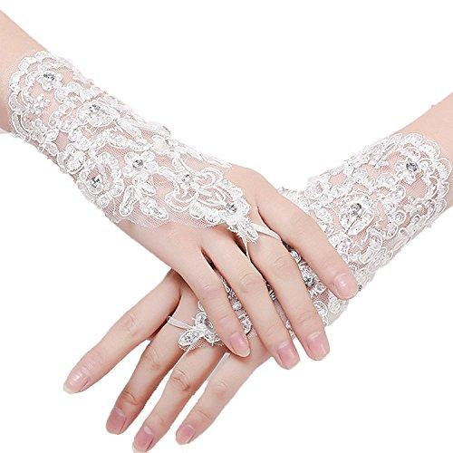 AnDream Women's Fingerless Sequins Rhinestone Bridal Lace Wedding Gloves White One (Fingerless Bridal Gloves)